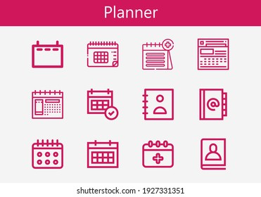 Premium set of planner line icons. Simple planner icon pack. Stroke vector illustration on a white background. Modern outline style icons collection of Schedule, Calendar