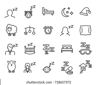 Premium set of sleep line icons. Simple pictograms pack. Stroke vector illustration on a white background. Modern outline style icons collection.