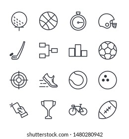 Premium set of sport line icons. Modern outline style icon collection for graphic and web design. sport symbol vector sign isolated on white background.