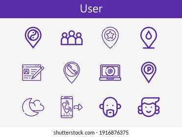 Premium set of user line icons. Simple user icon pack. Stroke vector illustration on a white background. Modern outline style icons collection of Night mode, Placeholder, Group, Call, Avatar