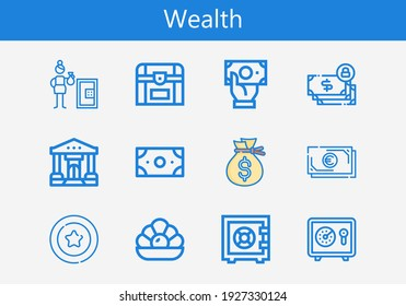 Premium set of wealth line icons. Simple wealth icon pack. Stroke vector illustration on a white background. Modern outline style icons collection of Pearl, Chest, Money