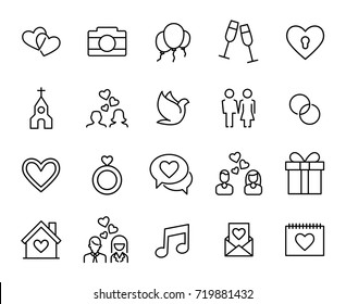 Premium set of wedding line icons. Simple pictograms pack. Stroke vector illustration on a white background. Modern outline style icons collection.