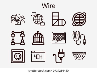 Premium set of wire [S] icons. Simple wire icon pack. Stroke vector illustration on a white background. Modern outline style icons collection of Networking, Network, Plug, 404, Grate, Fence