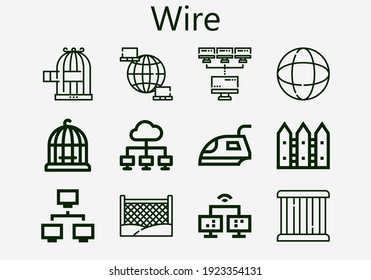 Premium set of wire [S] icons. Simple wire icon pack. Stroke vector illustration on a white background. Modern outline style icons collection of Earth grid, Cage, Network, Iron, Fence, Bird cage