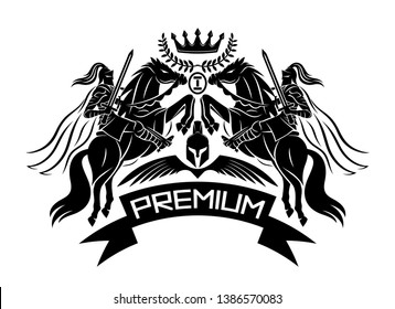 Premium sign with knights with swords riding horses on a white background.
