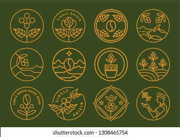 premium single origin line badge design set vector illustration with coffee fruit,leaf,farmer and cup.