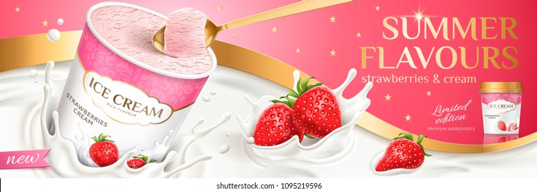 Premium strawberry ice cream cup with fresh fruit and splashing milk, eat with spoon in 3d illustration
