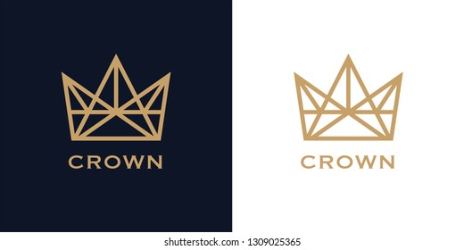 Premium style abstract crown logo symbol on blue background. Royal king icon. Modern luxury brand element sign. Vector illustration.