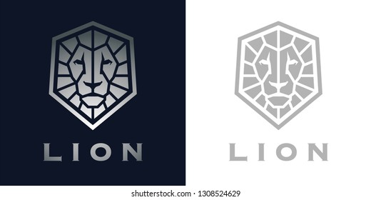 Premium style abstract silver Lion head logo symbol on blue background. Royal male Lion face icon. Wild animal brand. Vector illustration.