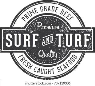 Premium Surf and Turf Vintage Stamp Design