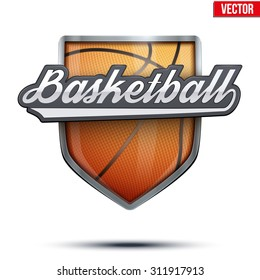 Premium  symbol of Basketball label. Symbol of sport or club. Vector Illustration isolated on white background.