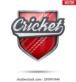 Premium  symbol of Cricket label. Symbol of sport or club. Vector Illustration isolated on white background.
