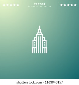 Premium Symbol of Empire State Building Related Vector Line Icon Isolated on Gradient Background. Modern simple flat symbol for web site design, logo, app, UI. Editable Stroke. Pixel Perfect.