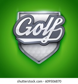 Premium symbol of Golf label and emblem. Shield with basketball ball. Symbol of sport clubs. Vector Illustration.