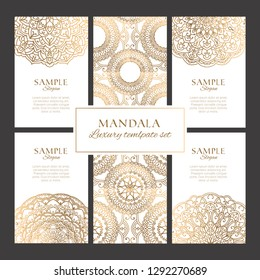Premium templates with oriental ornaments, borders and patterns. Golden luxury round mandalas elements for identity, web and prints