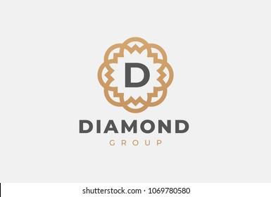 Premium universal monogram letter D initials logo. Abstract elegant flower logo icon vector design. Universal creative premium symbol. Luxury abc jewel logotype.