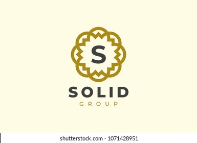 Premium universal monogram letter S initials logo. Abstract elegant flower logo icon vector design. Universal creative premium symbol. Luxury abc jewel logotype.