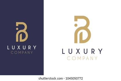 Premium Vector B Logo in two color variations. Beautiful Logotype design for luxury company branding. Elegant identity design in blue and gold.