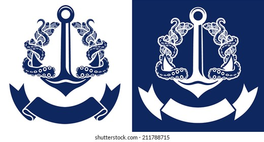 premium vector crest label with nautical anchor fish octopus and ribbon