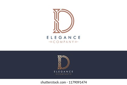 Premium Vector D Logo in two color variations. Beautiful Logotype design for luxury company branding. Elegant identity design for your company.
