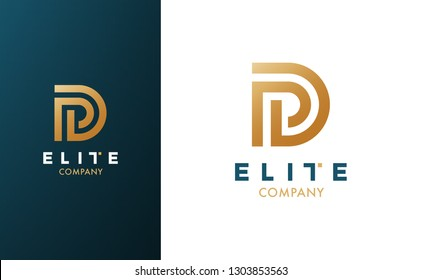 Premium Vector D Logo in two color variations. Beautiful Logotype for luxury branding. Elegant and stylish design for your company.