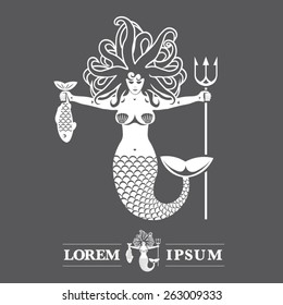 premium vector label mermaid or siren with fish and trident