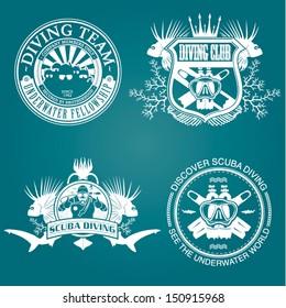 premium vector label for scuba diving club and underwater swimming