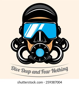 premium vector label for scuba diving club and underwater swimming