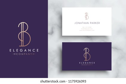 Premium vector letter B logo with business card tamplate. Luxury brand identity for your company. Elegant corporate design on marble background .