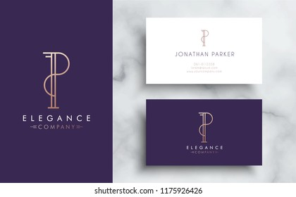 Premium vector letter P logo with business card tamplate. Luxury brand identity for your company. Elegant corporate design on marble background .