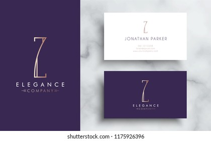 Premium vector letter Z logo with business card tamplate. Luxury brand identity for your company. Elegant corporate design on marble background .