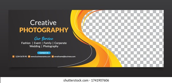 Premium Vector - Modern Abstract Photography Social Media Cover Banner Template