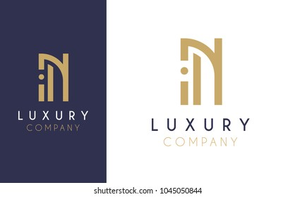 Premium Vector N Logo in two color variations. Beautiful Logotype design for luxury company branding. Elegant identity design in blue and gold.