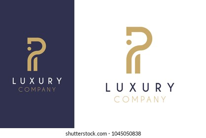 Premium Vector P Logo in two color variations. Beautiful Logotype design for luxury company branding. Elegant identity design in blue and gold.