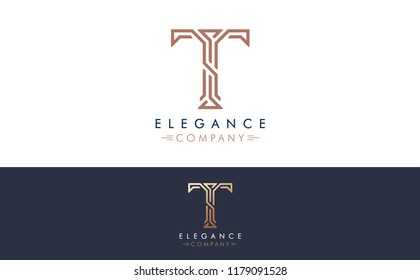 Premium Vector T Logo in two color variations. Beautiful Logotype design for luxury company branding. Elegant identity design for your company.
