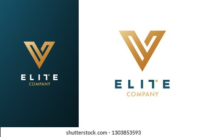 Premium Vector V Logo in two color variations. Beautiful Logotype for luxury branding. Elegant and stylish design for your company.
