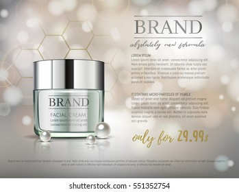 Premium VIP cosmetic ads, hydrating luxury facial cream for sale. Elegant Light Green cream mask bottle isolated on glitter sparkles with pearls, gloss effect. 3D realistic vector illustration.