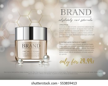 Premium VIP cosmetic ads, hydrating luxury facial cream for sale. Elegant soft beige color cream mask bottle isolated on glitter sparkles with pearls, gloss effect. 3D realistic vector illustration.
