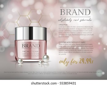 Premium VIP cosmetic ads, hydrating luxury facial cream for sale. Elegant soft pink color cream mask bottle isolated on glitter sparkles with pearls, gloss effect. 3D realistic vector illustration.