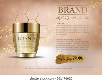 Premium VIP cosmetic ads, hydrating luxury facial cream for sale. Elegant beige and gold color cream mask bottle with gold particles isolated on glitter sparkles, gloss effect. 3D realistic vector