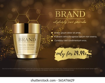 Premium VIP cosmetic ads, hydrating luxury facial cream for sale. Rich dark brown and gold color cream mask bottle with gold particles isolated on glitter sparkles, gloss effect. 3D realistic vector