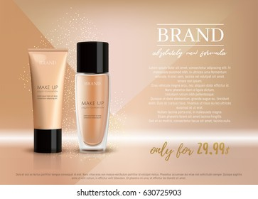 Premium VIP cosmetic ads, promotion make-up foundation for sale. Elegant beige skin face cream, lotion tube and glass bottle isolated on glitter sparkle background, gloss effect. 3D realistic vector
