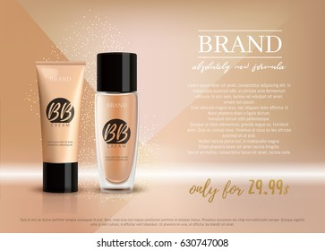 Premium VIP cosmetic ads, promotion make-up foundation for sale. Elegant beige BB face cream, lotion tube and glass bottle isolated on glitter sparkle background, gloss effect. 3D realistic vector