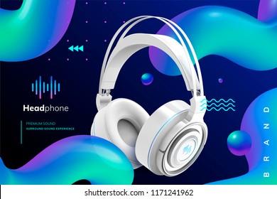 Premium white headphone ads on trendy geometric background in 3d illustration, wavy round line element