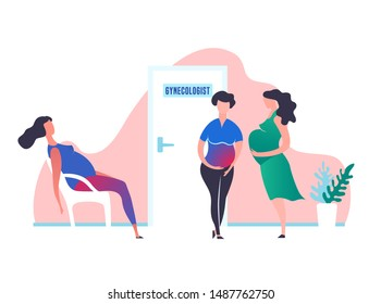 Prenatal clinic and birth centre image. Editable vector illustration in vibrant colors for logo, brand identity, prints graphic design. Medical childbearing and women health concept.