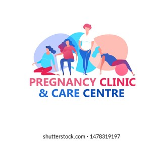 Prenatal clinic and birth centre logotype. Editable vector illustration in vibrant colors for logo, brand identity, prints graphic design. Medical, childbearing and women health concept.