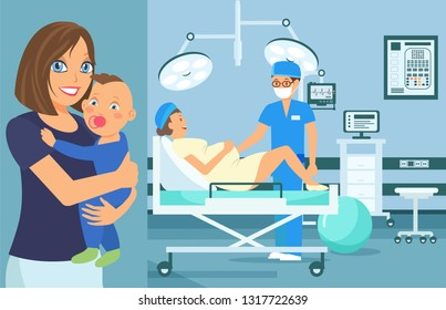 Prenatal Medical Checkup Flat Vector Illustration. Pregnant Woman Gynecological Examination. Medical Equipment. Health Color Cartoon Poster. Maternity Ward. Reception in Doctor Office. Baby Healthcare