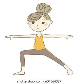 Prenatal Yoga, a pregnant woman in warrior pose