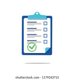 Prenuptial agreement document, check list clipboard sociology concept, questionnaire form, vector flat icon. Business signs agreement contract with another partner. Partnership and legal lawyer.