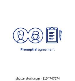 Prenuptial agreement document, couple divorce, check list clipboard, sociology concept, questionnaire form,  vector line icon